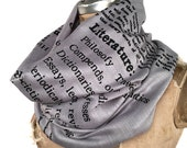 Book Scarf. Literary scarf. Dewey Decimal Literature library classification. Silkscreened linen weave pashmina. Choose silver, black & more.