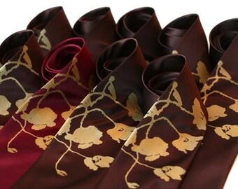 Poppy Flower Printed Necktie. Floral print men's silk tie. Metallic gold poppies print silkscreen tie. Groom's tie, mens fashion.