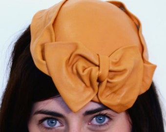 Caramel LEATHER bow hat , handcrafted Millinery only one Race carnival