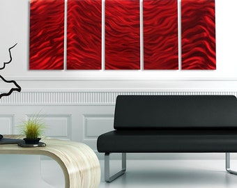 Large Contemporary Metal Wall Art in Red, Decorative Metal Wall Sculpture for a Modern Decor, Multi Panel Wall Art - Red Vibe by Jon Allen
