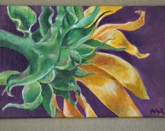 "Shy Sunflower Original Acrylic Painting 4"" x 6"""