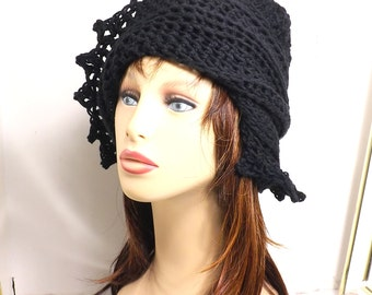 Lauren Hat,  Running Beanie,  Womens Hat Trendy,  Floppy Sun Hat,  Summer Hat,  Crochet Beanie Hat,  Black Hat