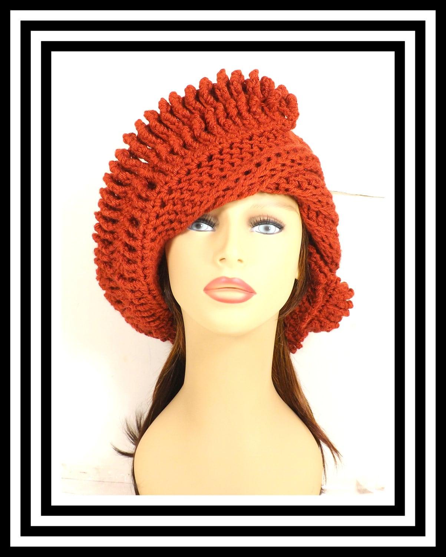 61570b3ed59 Burnt Pumpkin Orange Crochet Hat Womens Hat