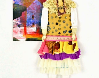 MIxed Media Paper Art Doll Rue