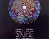 """2016 Full Moon Calendar tree of life Mandala-  5""""x8"""" lunar calendar"""