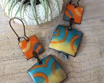 Colorful Glass and Enamel Drop Earrings, Torch Fired Enamel on Copper, Caribbean Inspired, Contemporary Enamel Glass Earrings