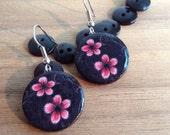 Pink flower print on dangle earrings | Pink and black drop earrings | Round button earring | Eco friendly jewelry | Handmade jewellery