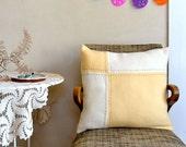 Wool Pillow Patchwork Quilt Design Butter Yellow Creamy White
