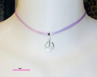 Lilac Ribbon Peace Choker Necklace