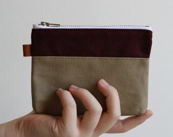 small zipper pouch - warm brick + sand grain