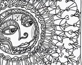 Bluemoose ART coloring Book Page Sweet Sunshine