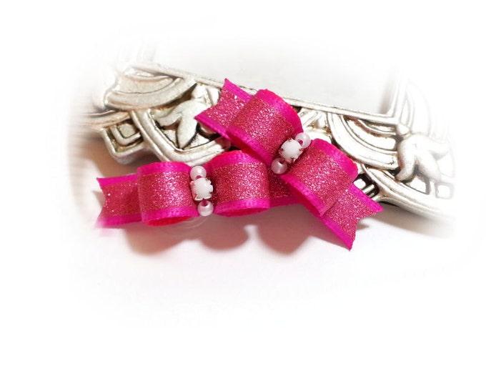 Puppy Dog Bows - Fuchsia Dog Hair Bow with Glitter & Rhinestones