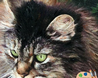 Domestic Cat Oil Portrait - Custom Cat Portrait - Cat Painting from your Photo - Portraits by Nc