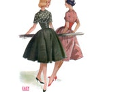 RESERVED 50s uncut Corset Dress pattern Midriff Band Dress vintage 34-26-36 madmen Full Skirt dirndl Fitted peter pan collar