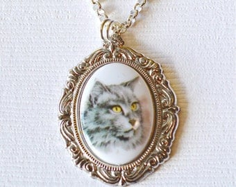 Grey Cat Cameo Necklace, Cat Lover, Cat Lady, Pet Necklace