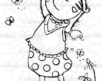Butterflies and Happiness 2 Versions Digital Stamp - Printable - Art to Color by Duda Daze