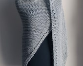 Hand Knit Prayer Meditation Comfort Shawl Wrap, Dove Grey Neutral, Acrylic Vegan, Ready to Ship, FREE SHIPPING