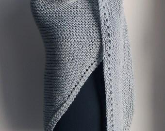 Hand Knit Prayer Meditation Comfort Shawl Wrap, Dove Grey Neutral, Acrylic Vegan, Ready to Ship, FREE SHIPPING