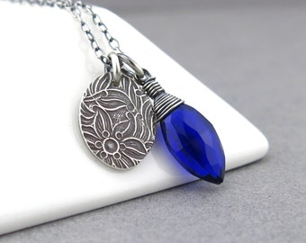 Cobalt Blue Necklace Silver Charm Necklace Silver Necklace Tiny Charm Necklace Gemstone Jewelry Bohemian Jewelry Charm Jewelry - Solo