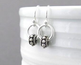 Silver Bead Earrings Silver Drop Earrings Small Silver Earrings Silver Hoop Earrings Everyday Jewelry Minimalist Jewelry - Modern Edge