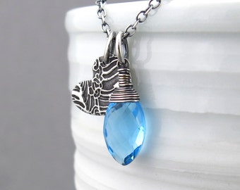 Swiss Blue Necklace Long Gemstone Necklace Silver Pendant Necklace Ocean Necklace Bohemian Jewelry Modern Jewelry - Duets