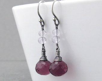 Small Dangle Earrings Pink Gemstone Earrings Modern Silver Earrings Rustic Jewelry Unique Silver Jewelry - Tracey
