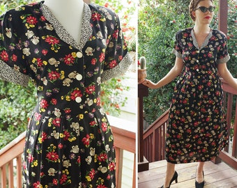 DARLING 1980's 90's Long Black Floral Rayon Dress with Flowers + Hat Boxes // by Carol ANDERSON // size Small Medium