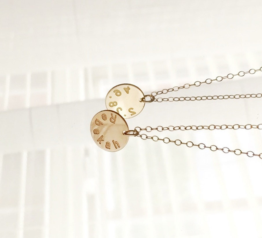 personalized name necklace engraved disc necklace