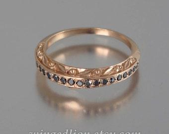 THE ENCHANTED Wedding Band 14k rose gold and Black Diamonds