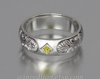 ALEXANDER 14K white gold mens wedding band with yellow diamond unisex ring