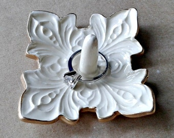 Ceramic Ring Holder Bowl fleur de lis OFF WHITE with gold edging