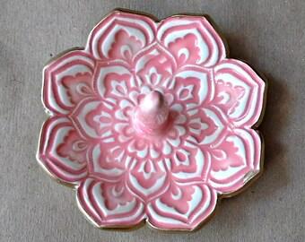 Ceramic Ring Holder Ring Bowl Coral Lotus with gold edging