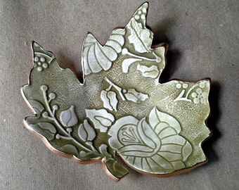 Ceramic Soap Dish Leaf  Trinket Dish  Sage green with gold edging