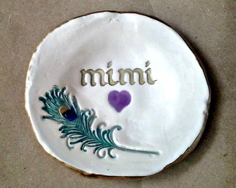 Ceramic Peacock Feather Ring Holder Dish 4 1/2 inches round MIMI