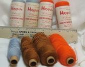Lot of (8) Spools Hand Weaving Yarn Wool Blue Brown Orange Worsted Vintage 2030