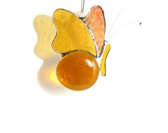 Amber Butterfly Mobile, Stained Glass Butterfly Suncatcher Home Decor, Window Decoration Sun Catcher Decor, Gift Idea, Amber Glass Ornaments