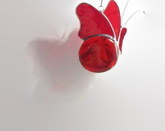 Red Glass, Butterfly Suncatcher, Stained Glass, Sun Catcher, Home Decor, Garden Decor, Gifts Under 25, Red Butterfly, Glass Butterfly