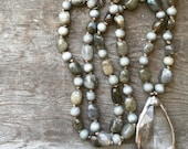 SALE - Hand Knotted Labradorite Nugget, Wood Bead & Soldered Vintage Crystal Necklace