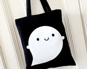 Happy Little Ghost Tote Bag - Kawaii Halloween