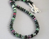 Ruby Zoisite Necklace Sterling Silver DJStrang Boho Chic Red Green Gemstone