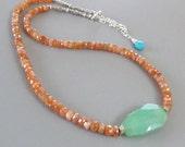 Sunstone Peruvian Opal Necklace Turquoise Sterling Silver DJStrang Gemstone Orange Boho Cottage Chic