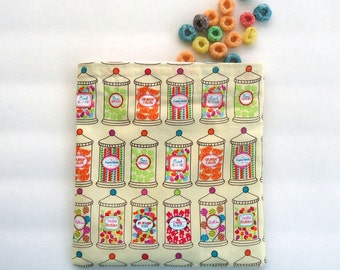 Reusable Sandwich Bag, Snack Bag with retro Candy Jars, Zero Waste Lunch Bag