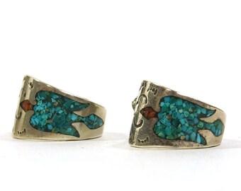 Navajo Turquoise & Sterling Silver Earrings / Vintage 1970s Native American Jewelry / Thunderbird Half Hoops