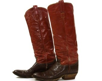 Tony Lama Red Leather Cowboy Boots / Women's size 11 / Men's size 9.5