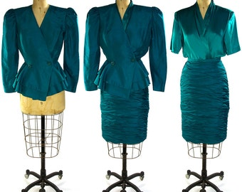 1980s Teal Silk Peplum Suit by Julie Francis / Blazer with Pleated Pencil Skirt & Cross-over Blouse / Vintage Dressy Suit