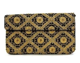 80s Gold Embroidered Clutch / Vintage 1980s Metallic Gold Embroidered Black Velvet Evening Bag / Optional Shoulder Strap / Boho Ethnic Glam