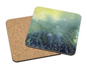 Coasters Mix & Match - Through Light - ocean jellyfish water deep sea turquoise sunlight blue bathroom watercolor painting Oladesign