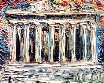 van Gogh Never Saw Acropolis - Art Giclee print reproduction by Aja 8x8, 10x10, 12x12, 20x20, and 24x24 inches choose your size