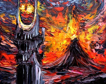 Lord of the Rings Art - LOTR van Gogh Never Saw The Land of Shadow - Giclee print by Aja 8x8, 10x10, 12x12, 20x20, and 24x24 choose size