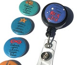 Interchangeable ID badge reel holder or lanyard with inspirational sayings - Choice of alligator, belt clip, badge holder, quotes, embrace